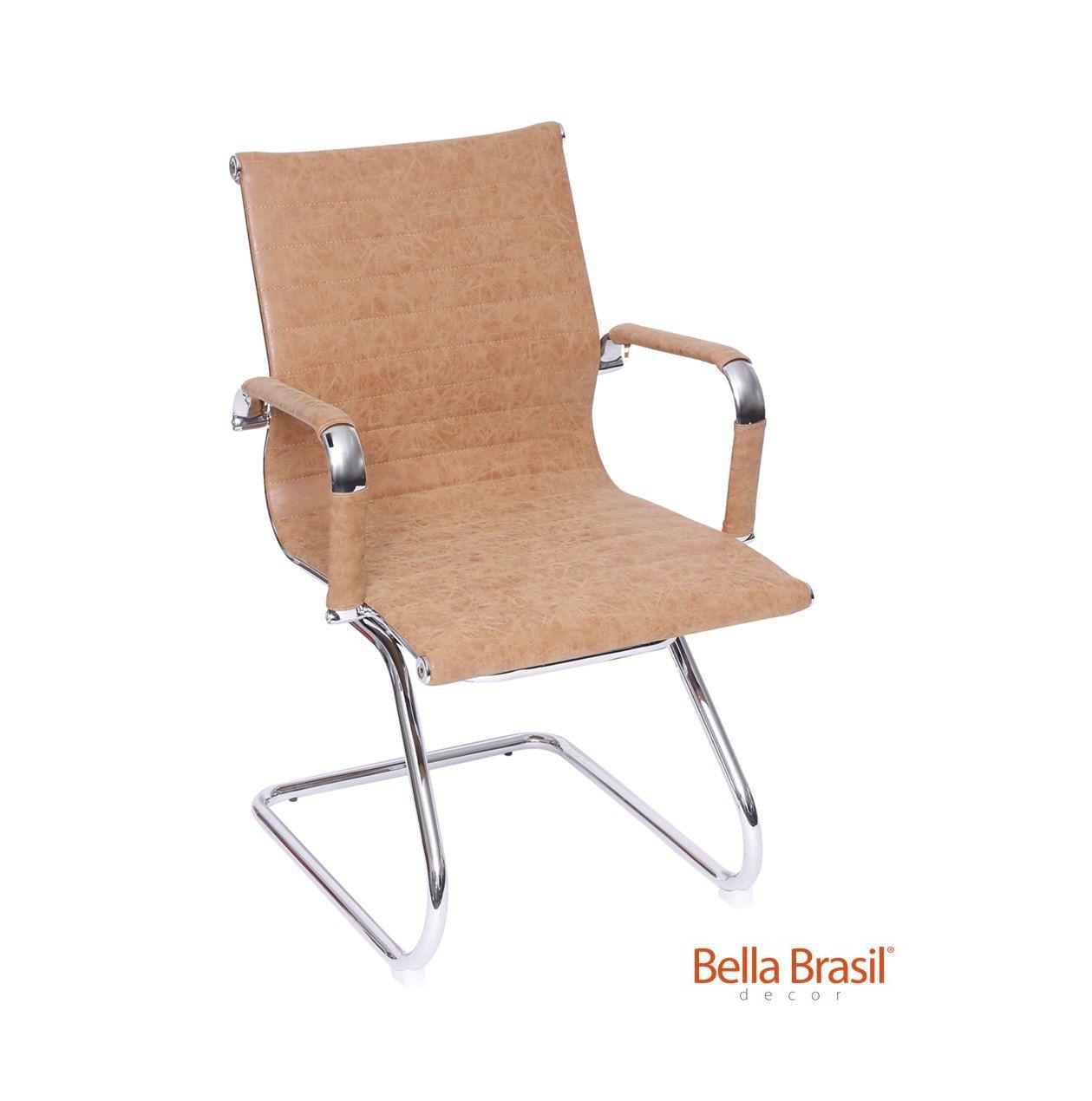 Cadeira Charles Eames Office Esteirinha Tecido Fixa Interlocutor