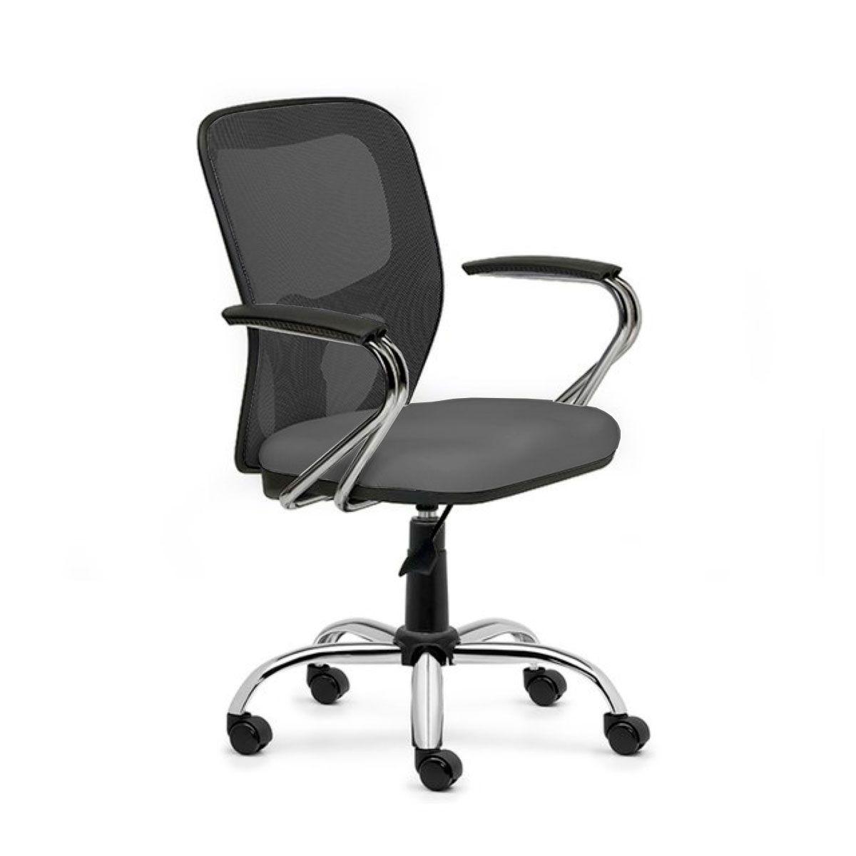 Cadeira de escritório AMITI secretária giratória base metálica cromada assento em corino PU
