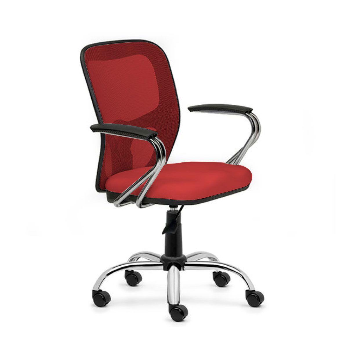 Cadeira de escritório AMITI secretária giratória base metálica cromada assento em crepe