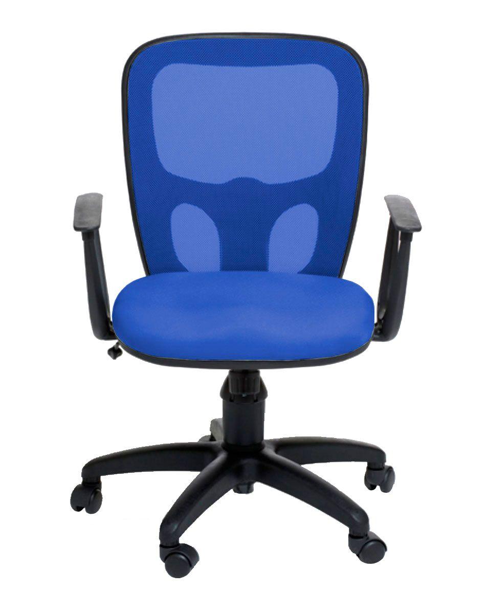 Cadeira de escritório AMITI secretária giratória base nylon preta assento em crepe