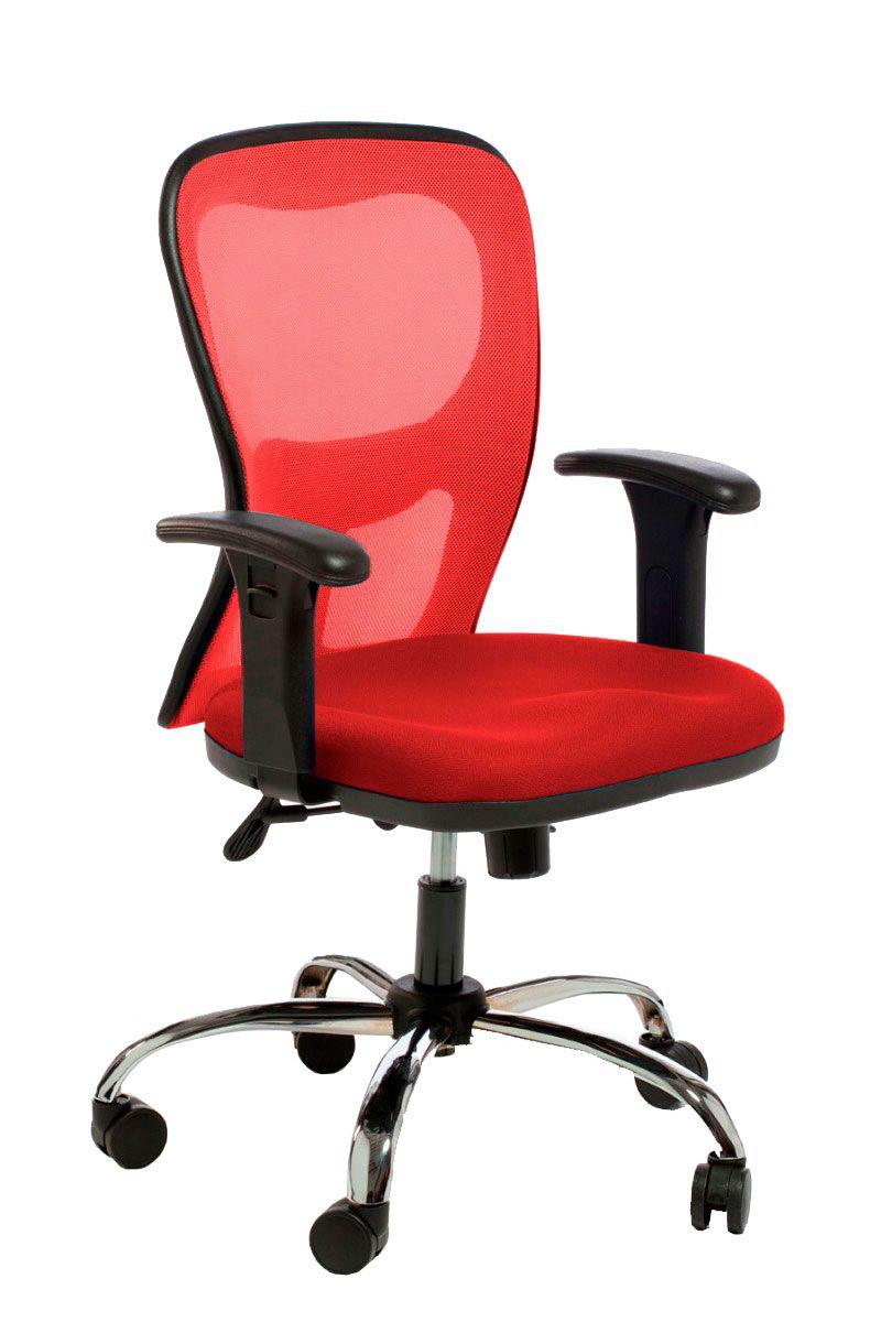 Cadeira de escritório AURO secretária giratória base metálica cromada assento em corino PU