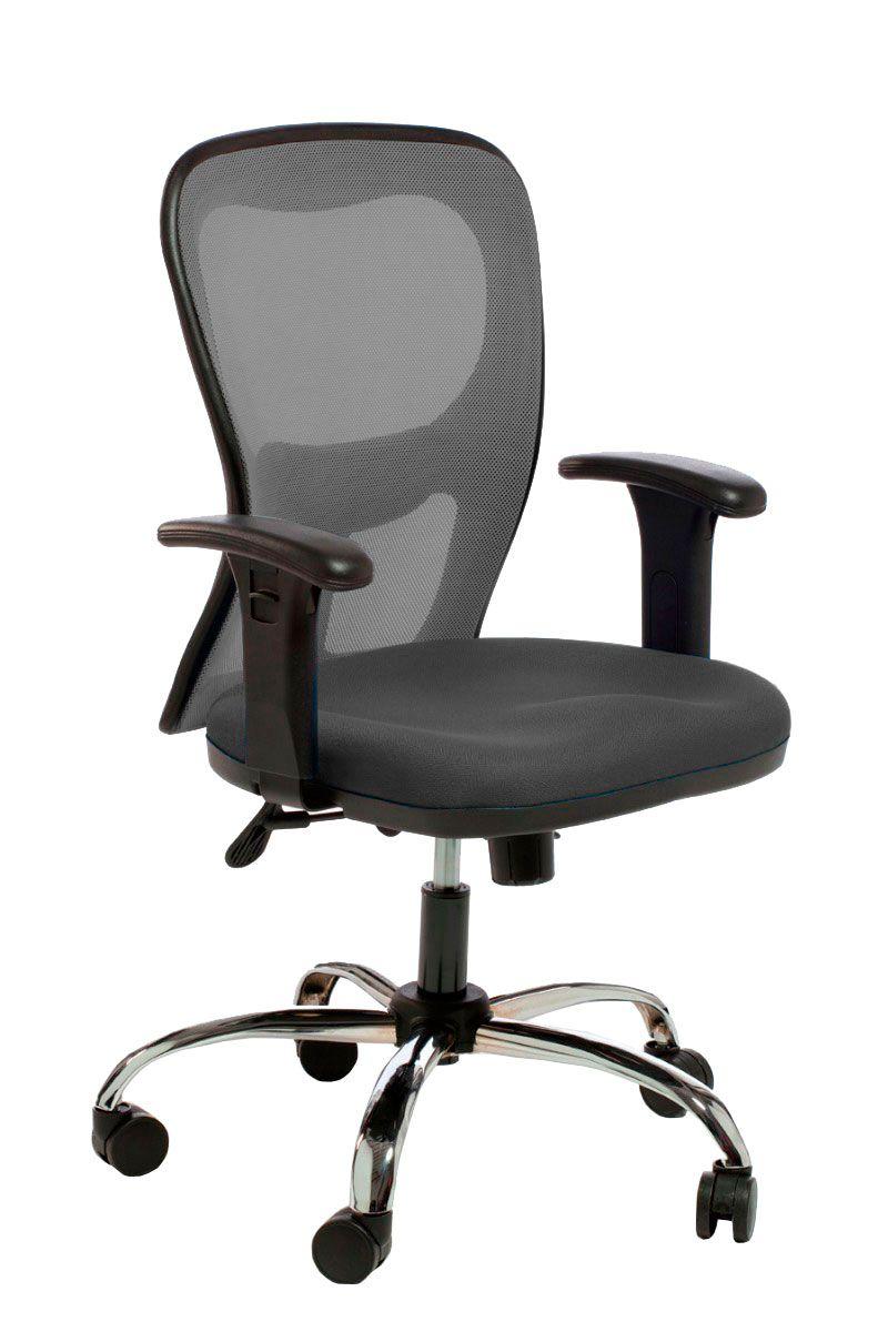 Cadeira de escritório AURO secretária giratória base metálica cromada assento em crepe
