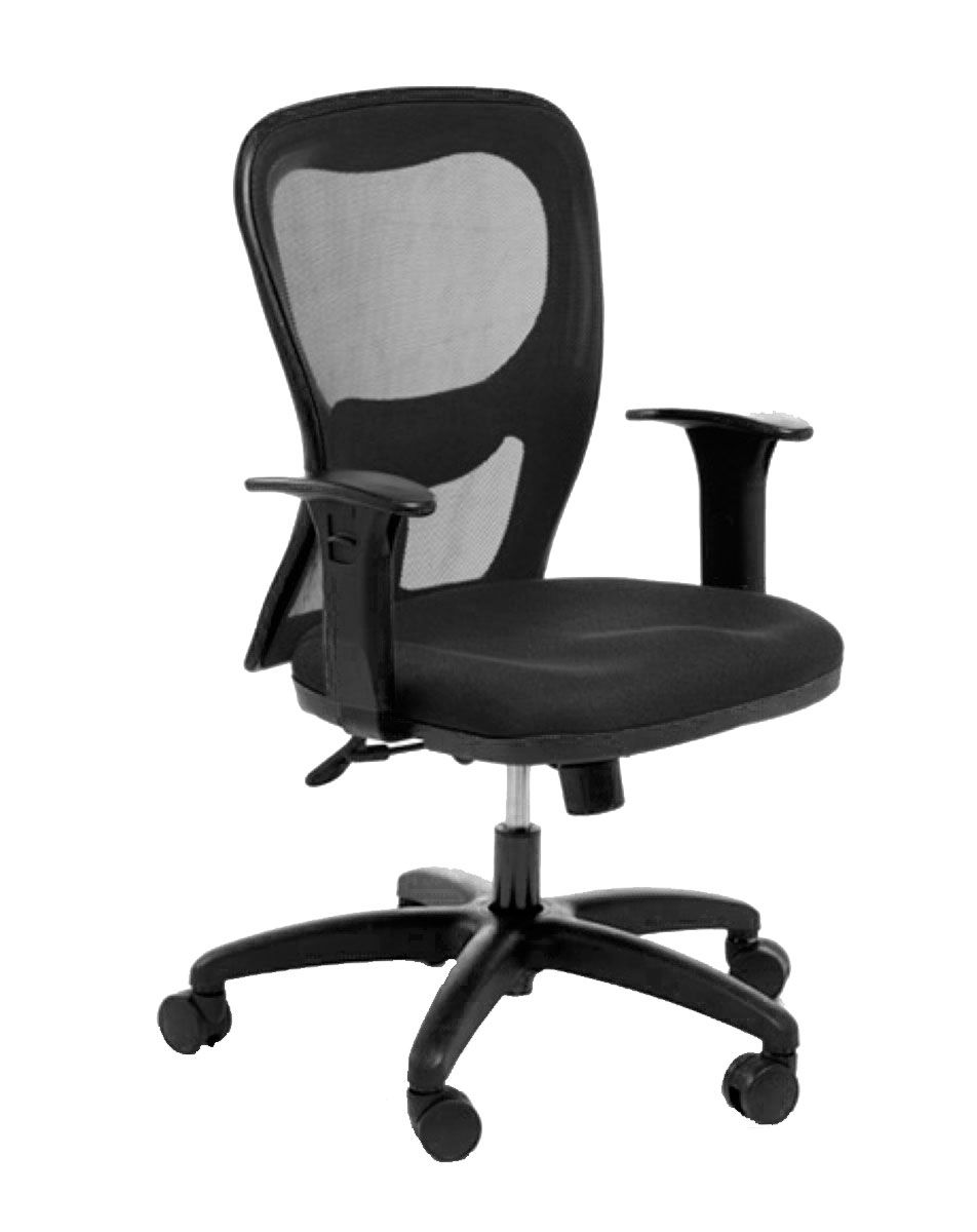 Cadeira de escritório AURO secretária giratória base nylno preta assento em corino PU