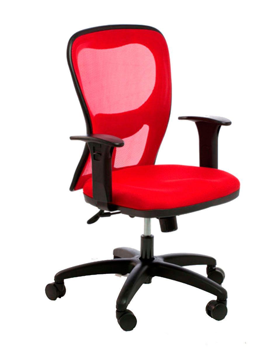 Cadeira de escritório AURO secretária giratória base nylon preta assento em crepe