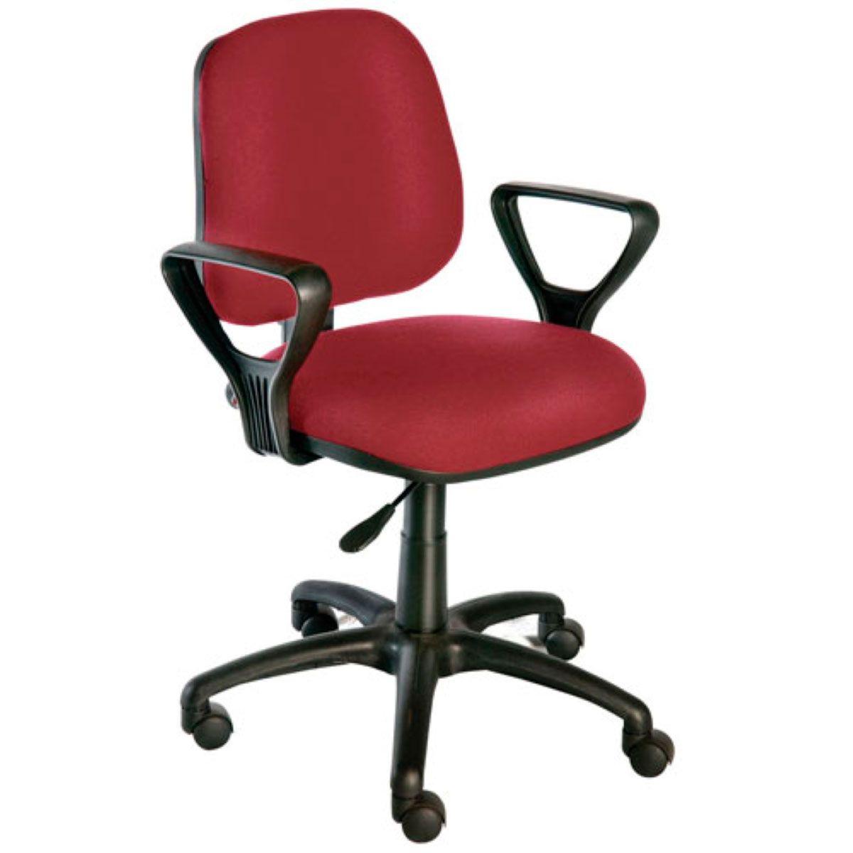 Cadeira de escritório MIRTA secretária giratória base de nylon preta assento em corino PU