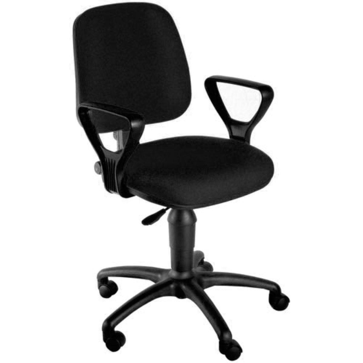 Cadeira de escritório MIRTA secretária giratória base de nylon preta assento em crepe
