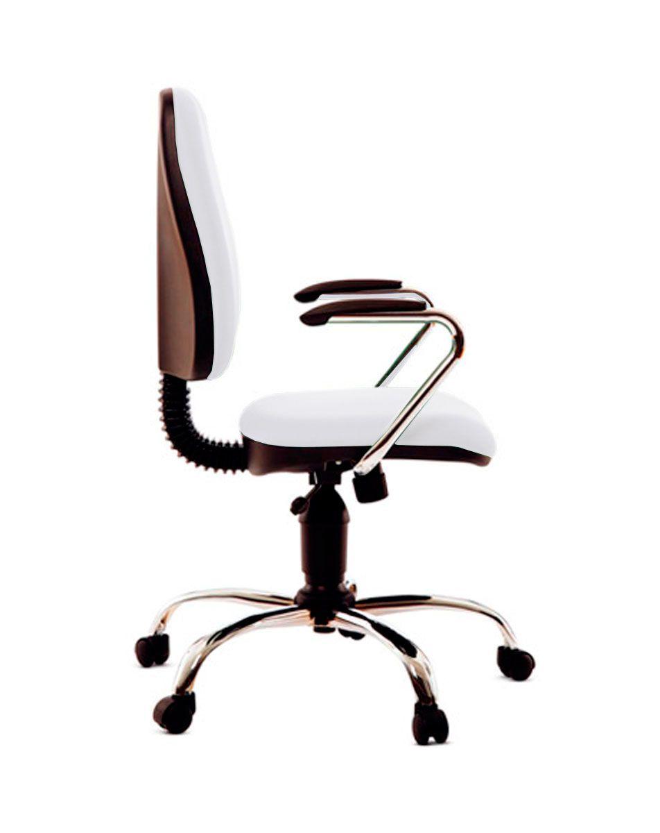 Cadeira de escritório MIRTA secretária giratória base metálica cromada assento em corino PU