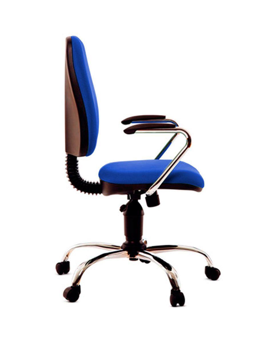 Cadeira de escritório MIRTA secretária giratória base metálica cromada assento em crepe