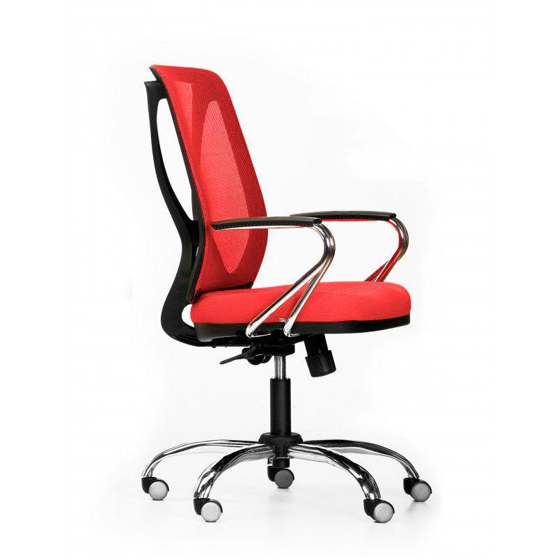 Cadeira de escritório NAIM secretária giratória base metálica cromada assento em corino PU