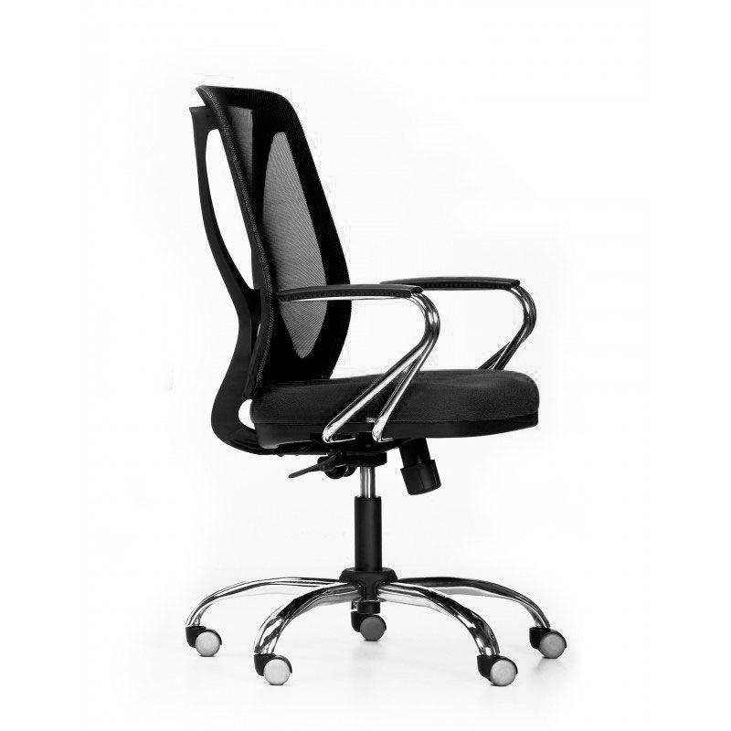 Cadeira de escritório NAIM secretária giratória base metálica cromada assento em crepe