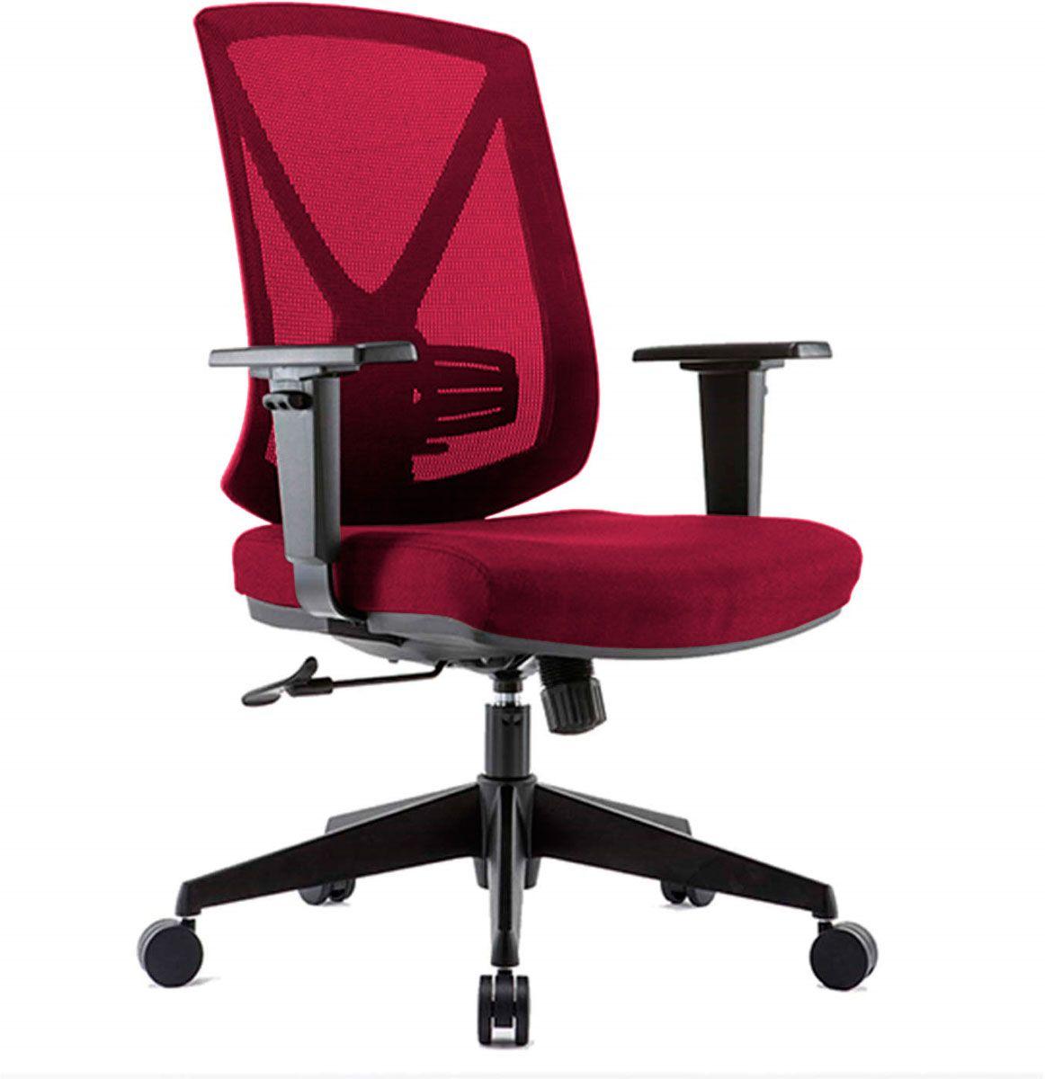 Cadeira de escritório NAIM secretária giratória base nylon preta assento em crepe