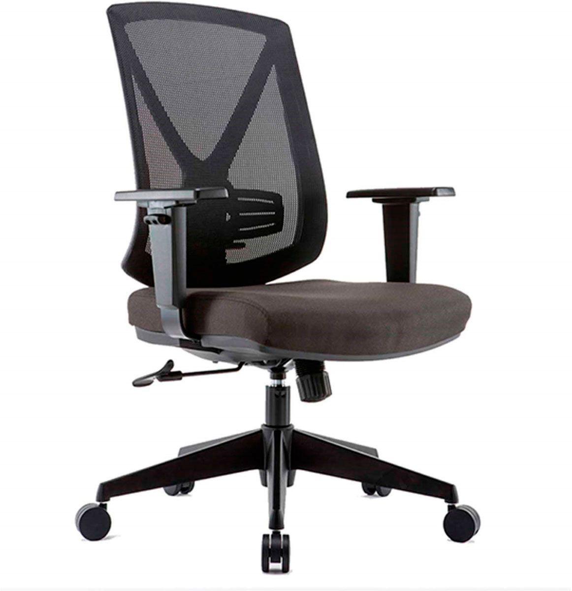 Cadeira de escritório NAIM secretária giratória base nylno preta assento em corino PU