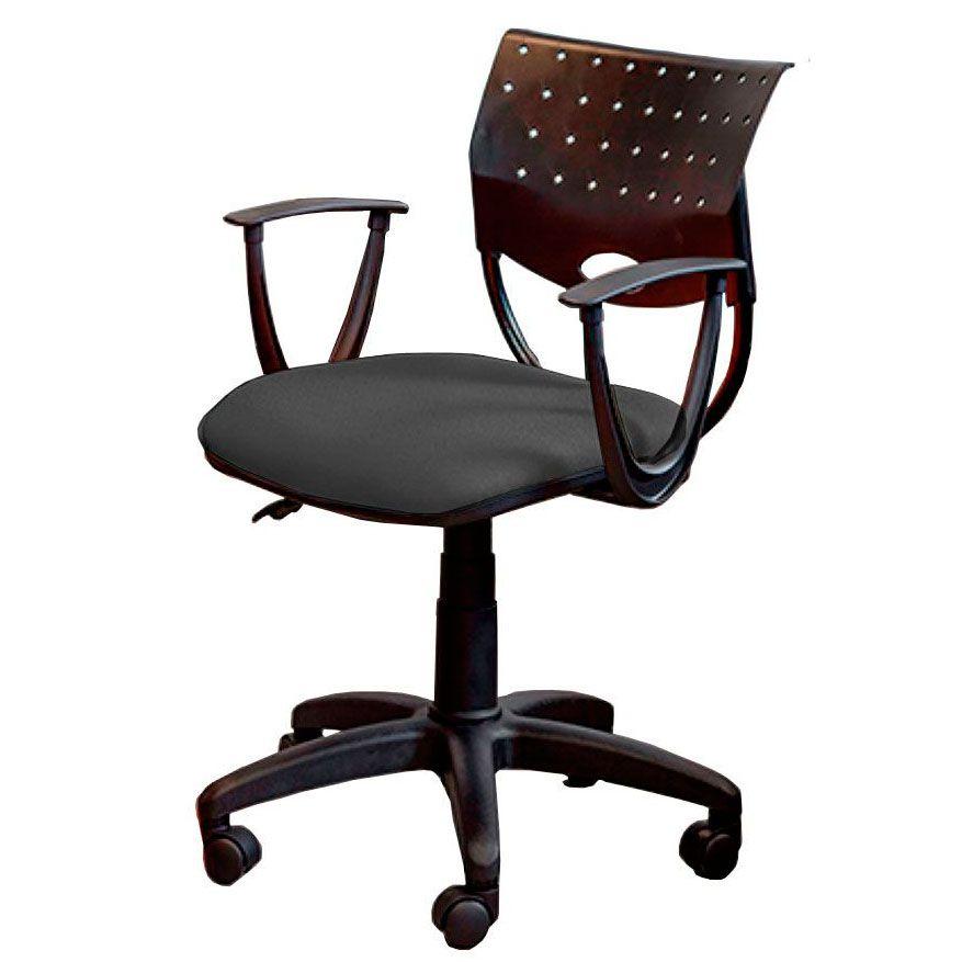 Cadeira de escritório SADI base de nylon na cor preta giratória e assento em corino PU