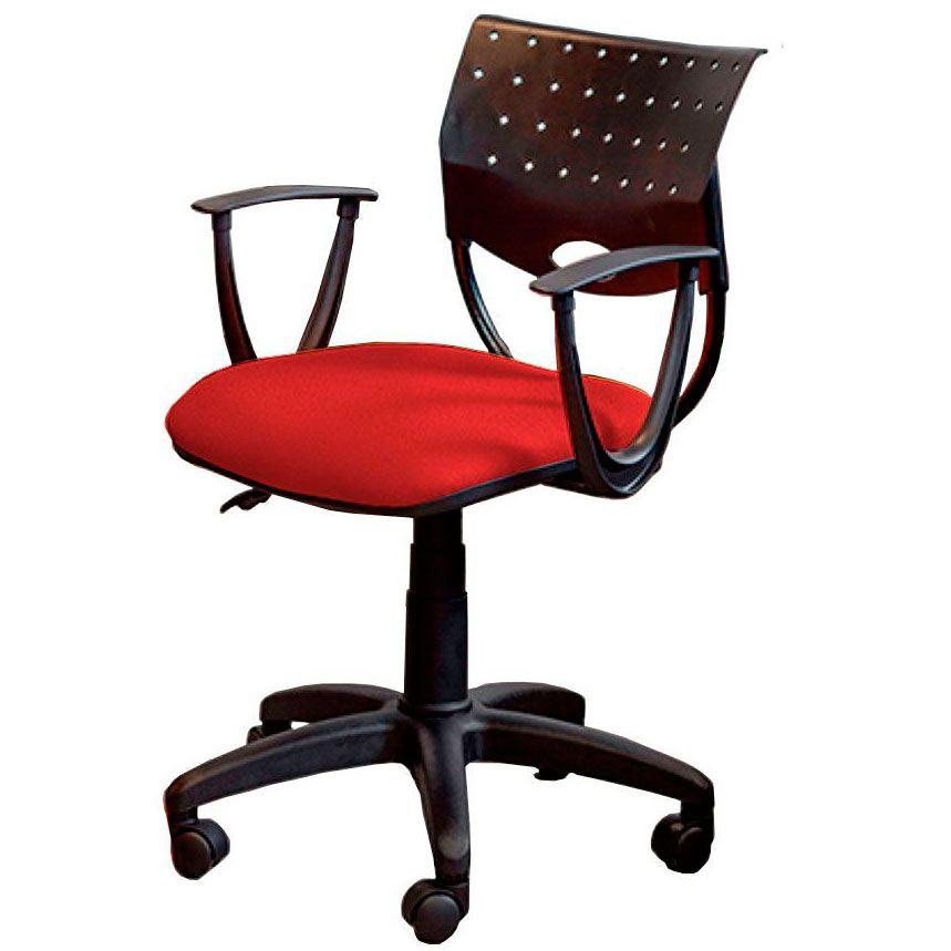 Cadeira de escritório SADI base de nylon na cor preta giratória e assento em crepe