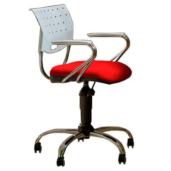 Cadeira de escritório SADI base metálica cromada giratória e assento em corino PU