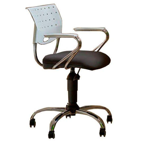 Cadeira de escritório SADI base metálica cromada giratória e assento em crepe