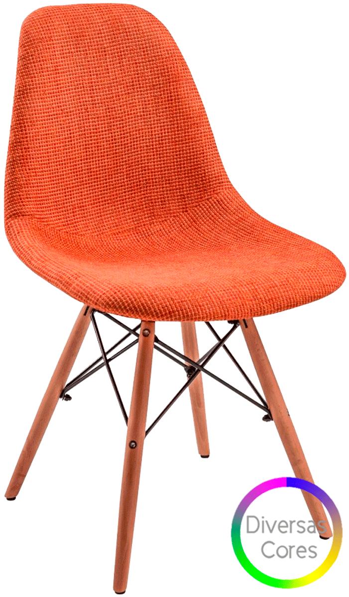Cadeira Eames DSW  Tecido Estofada Base Eiffel Madeira