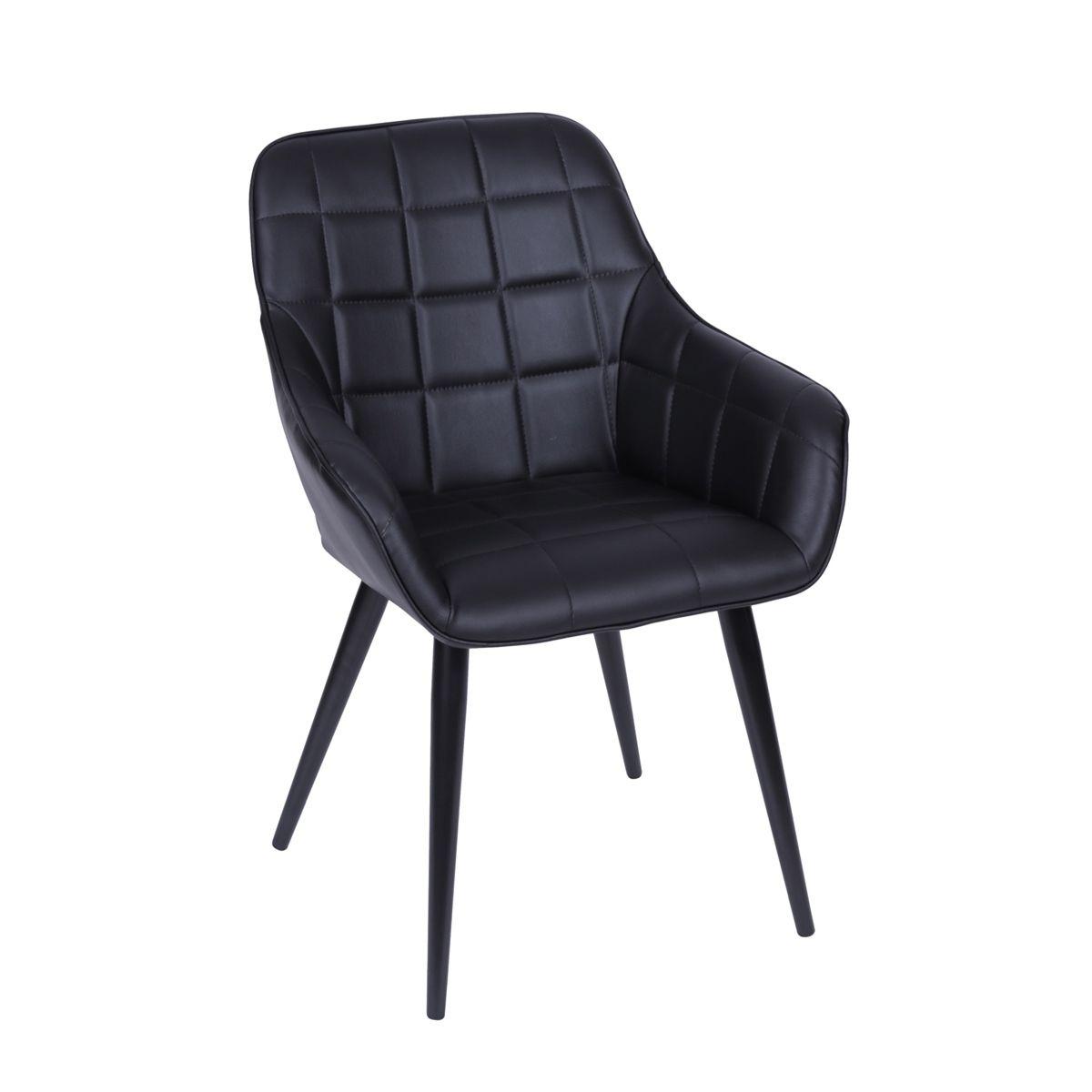 Cadeira Dubai com Braço Revestida em PU com Base em Metal - Várias Cores