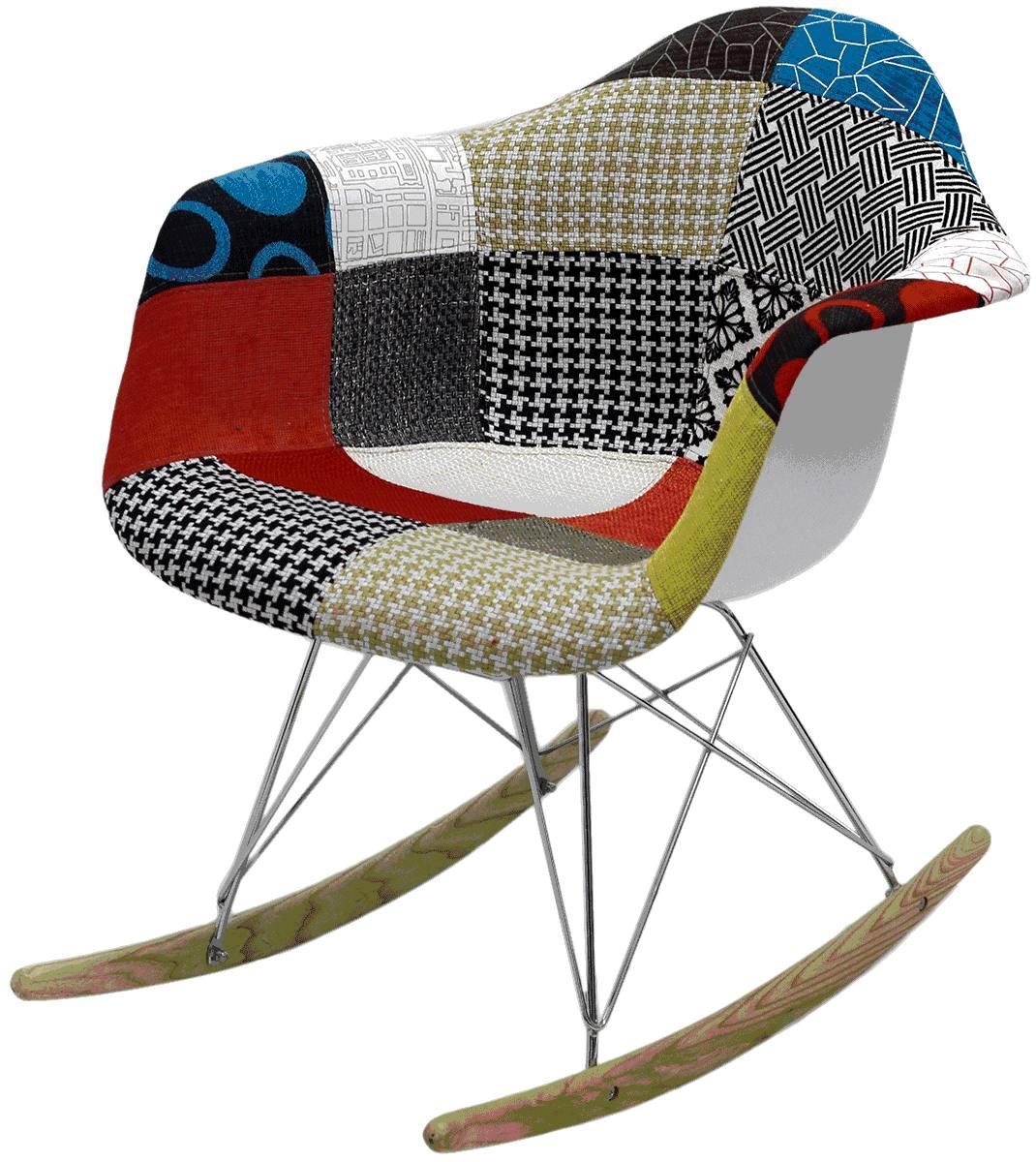 Cadeira Balanço Eames RAR Patchwork em polipropileno