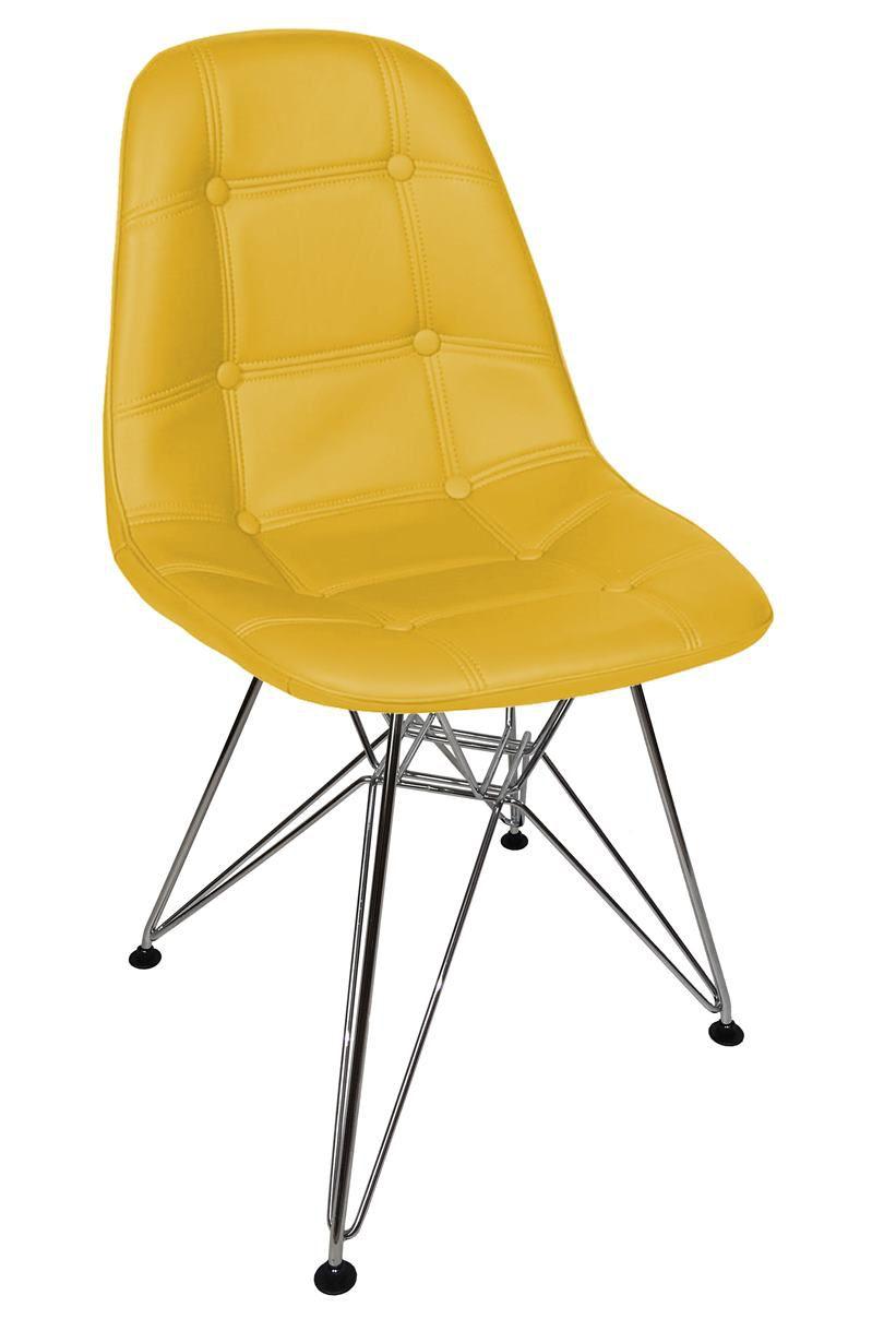 Cadeira Eames DSR Botonê em PU com Base Cromada
