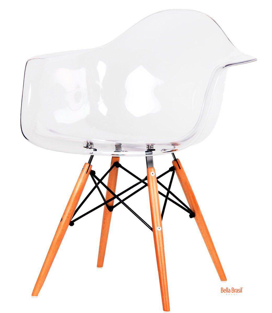 Cadeira Eames DAW com Braço Transparente Base Eiffel Madeira