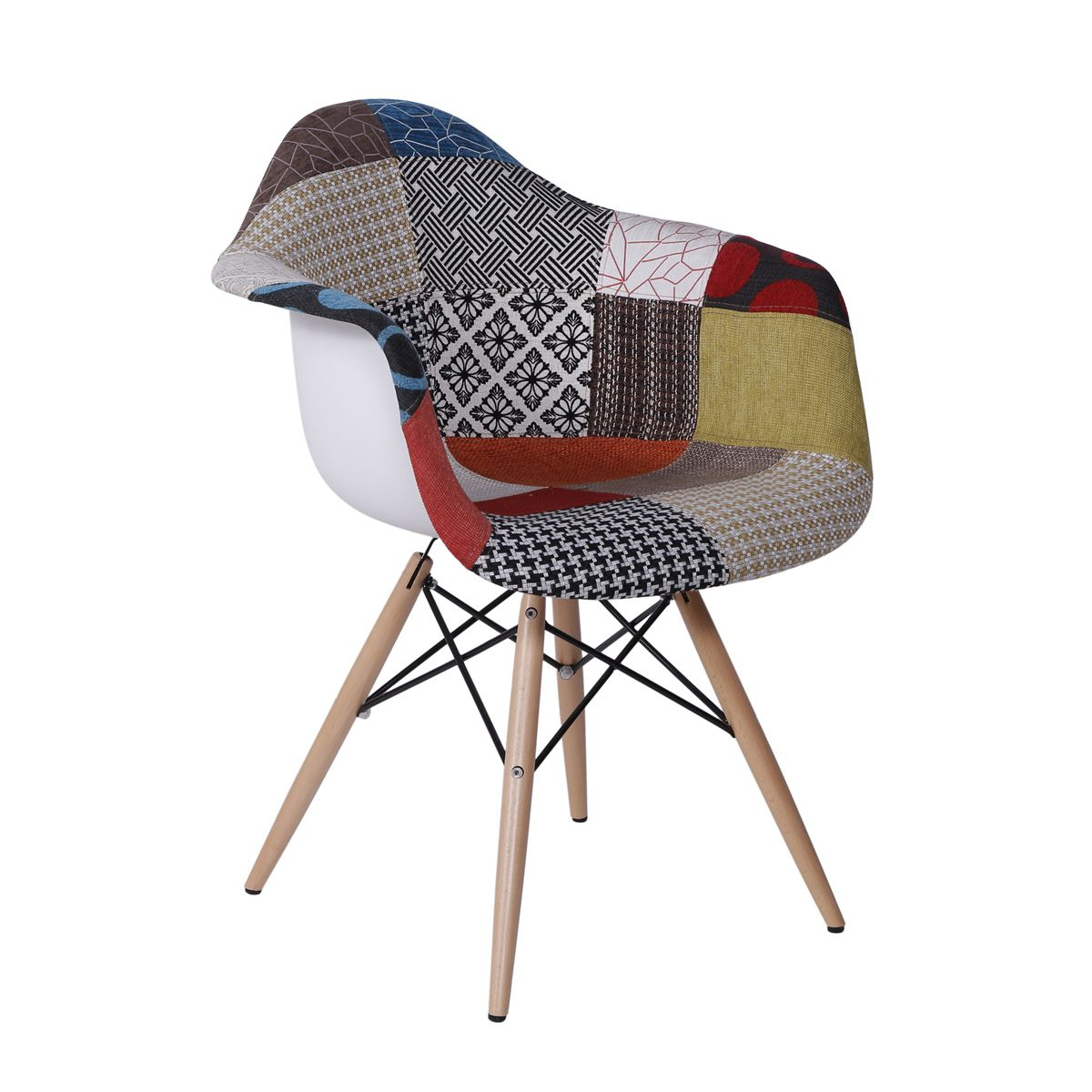 Cadeira Eames DAW Patchwork com Braco Base Eiffel Madeira