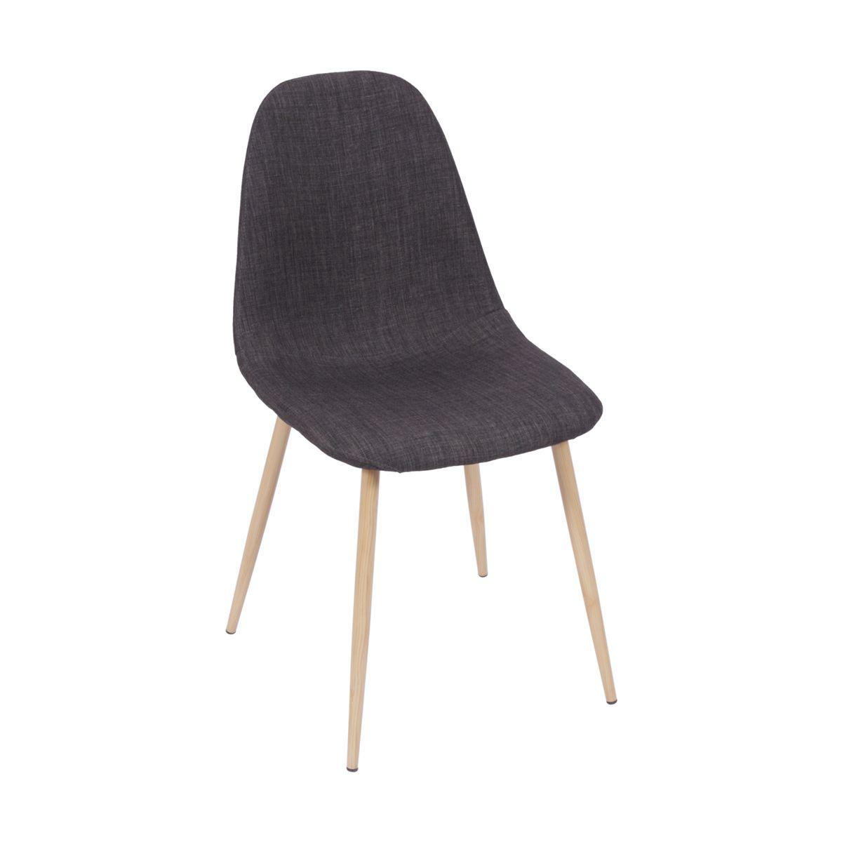 Cadeira Eames Dover Base na cor Madeira Revestida em Linho