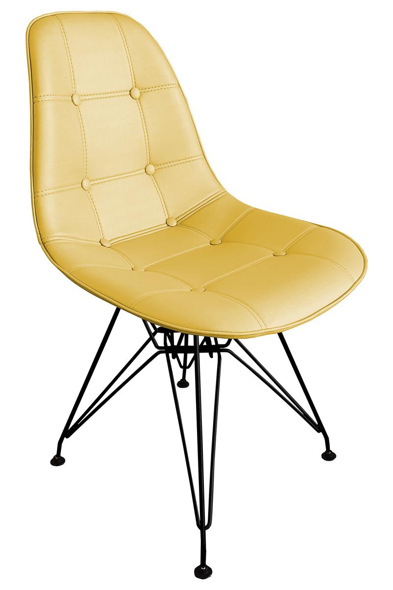 Cadeira Eames Dsr Botone Preta Com Assento Facto Dourado