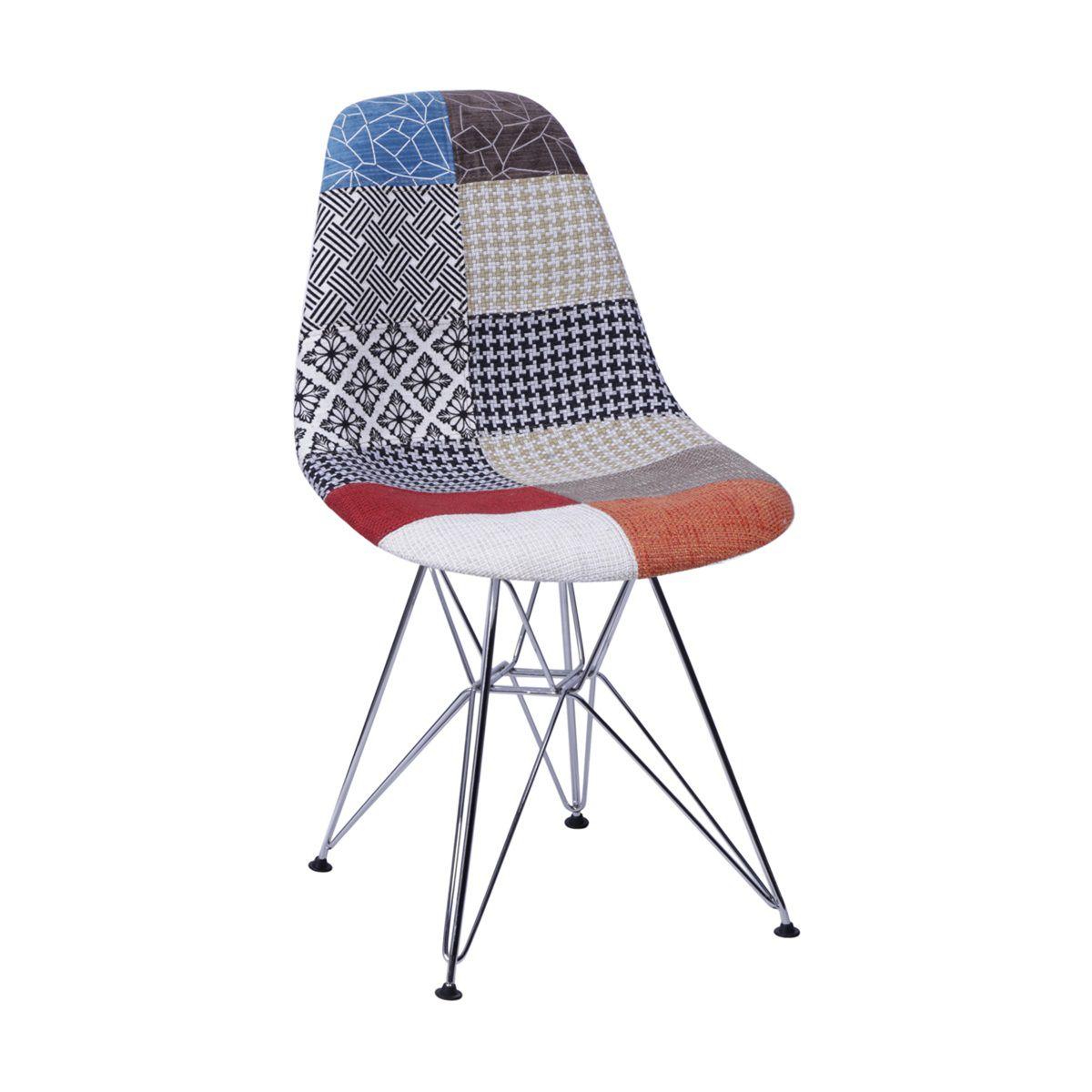 Cadeira Eames DSR Patchwork Base Eiffel Cromada