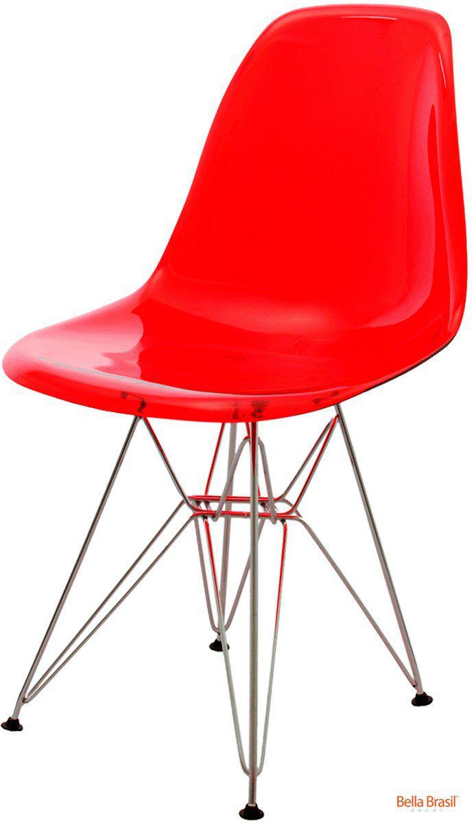 Cadeira Eames DSR Policarbonato base cromada
