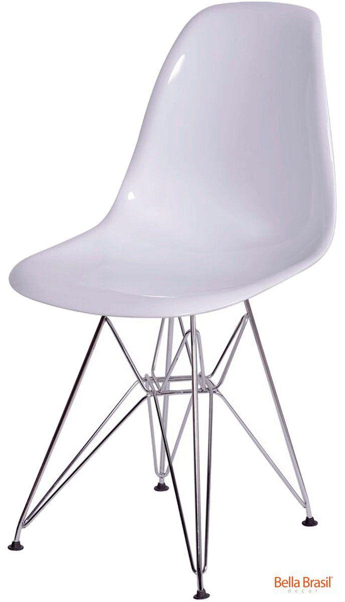 Cadeira Eames DSR Policarbonato Base Eiffel Inox