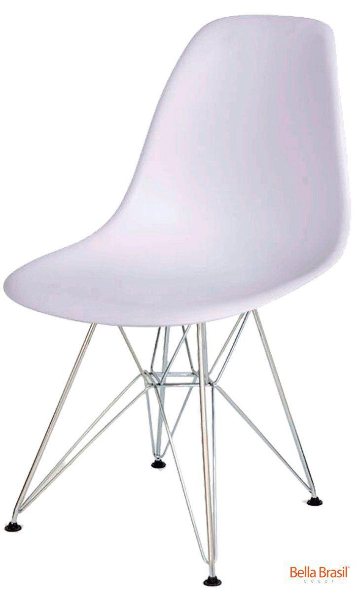 Cadeira Eames DSR Polipropileno Base Eiffel Aço Inox