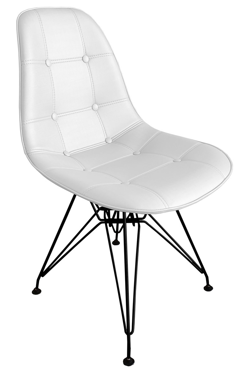 Cadeira Eames DSR Preta Assento Botonê Facto Branco