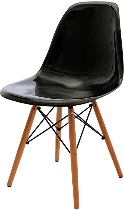 Cadeira Eames DSW Acrilica em base de madeira.