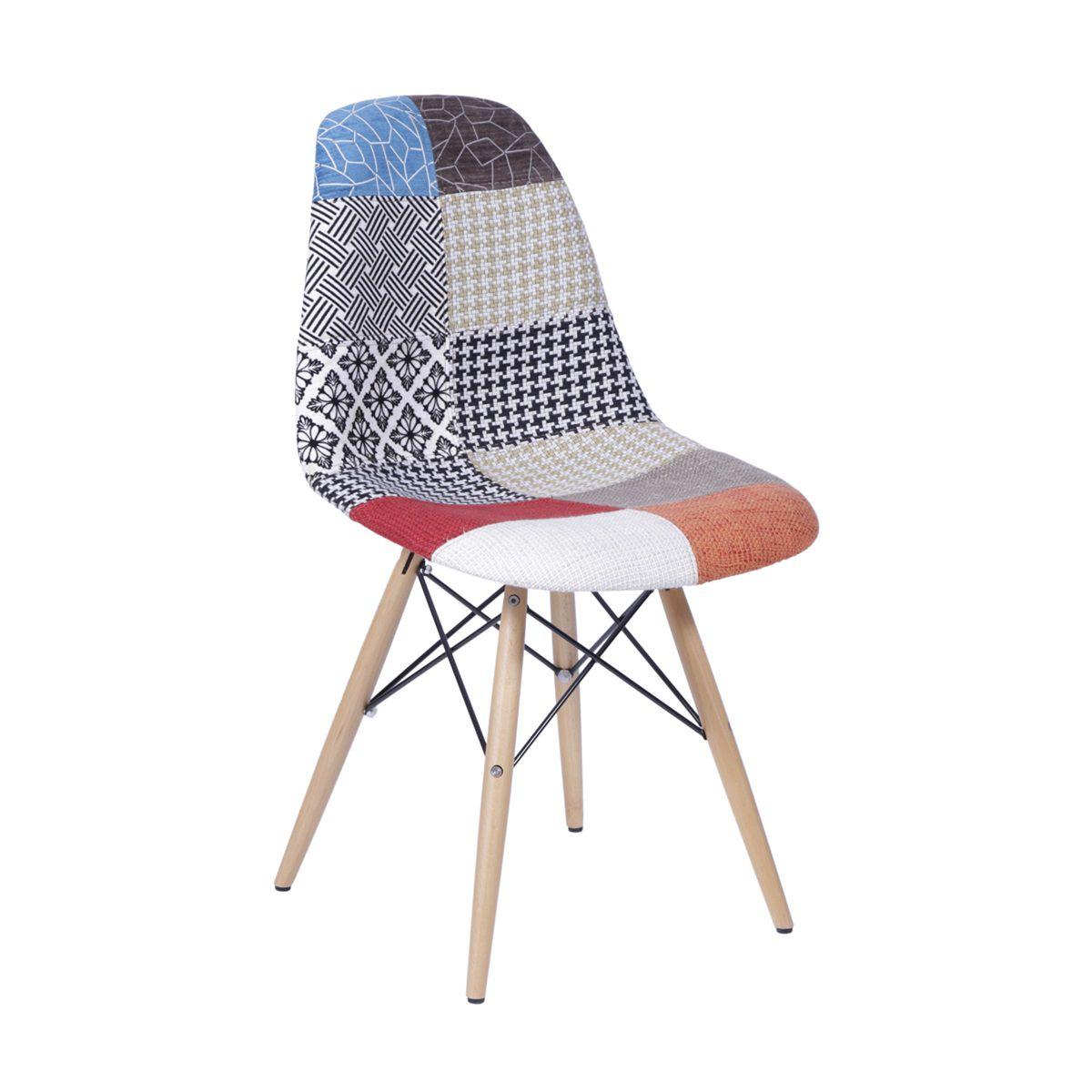 Cadeira Eames DSW Patchwork Base Eiffel Madeira
