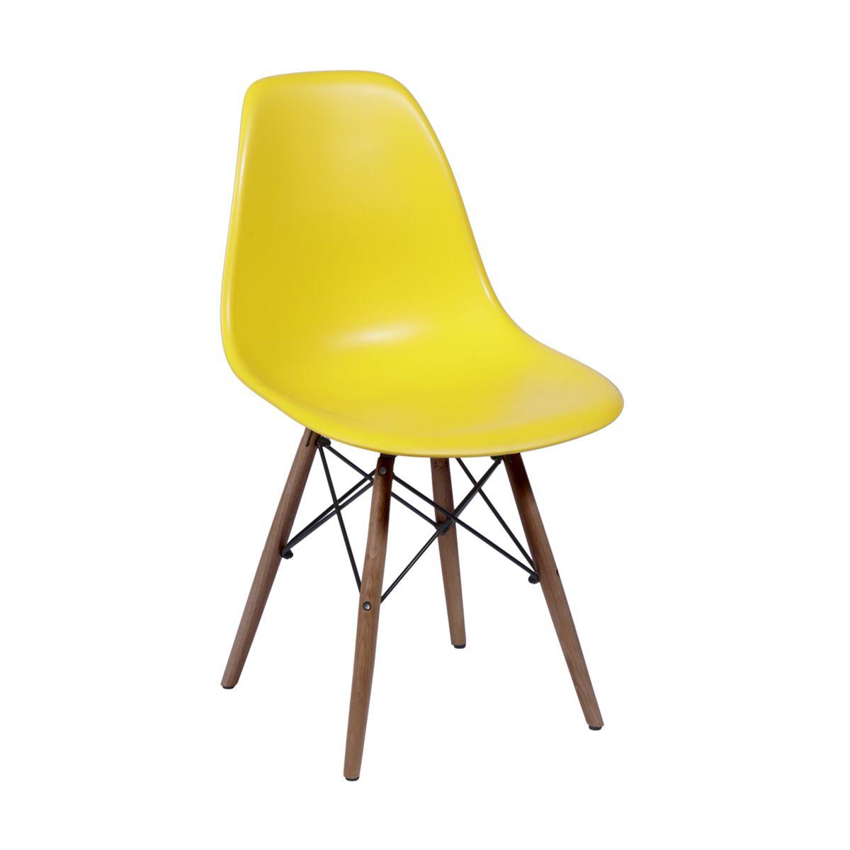 Cadeira Eames DSW Polipropileno Base Eiffel Madeira Escura