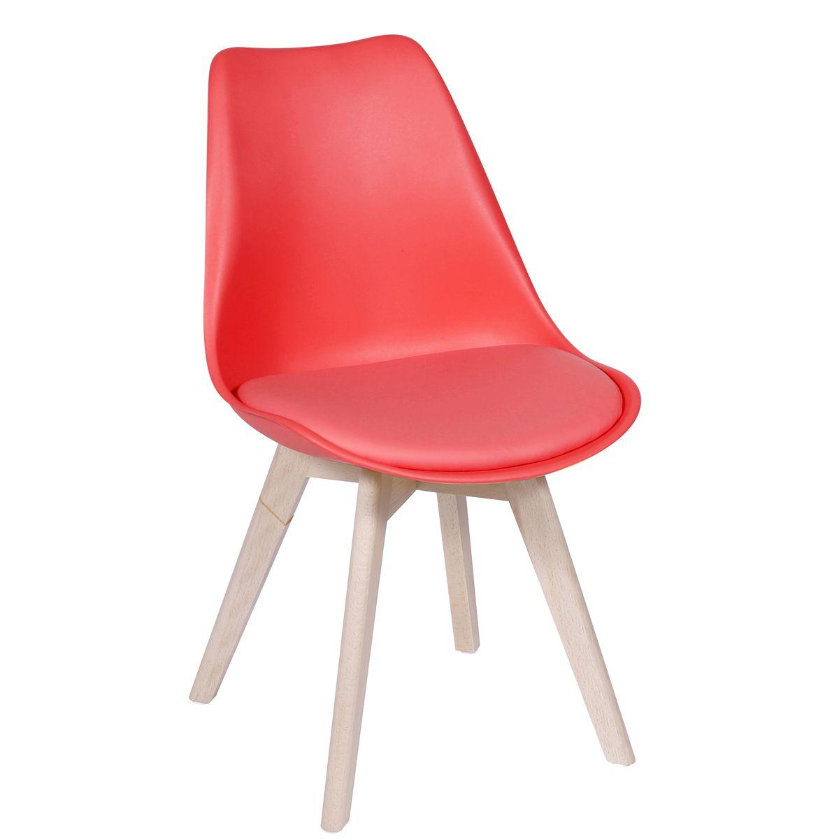 Cadeira Eames Leda Polipropileno Base Madeira com Almofada Fixa