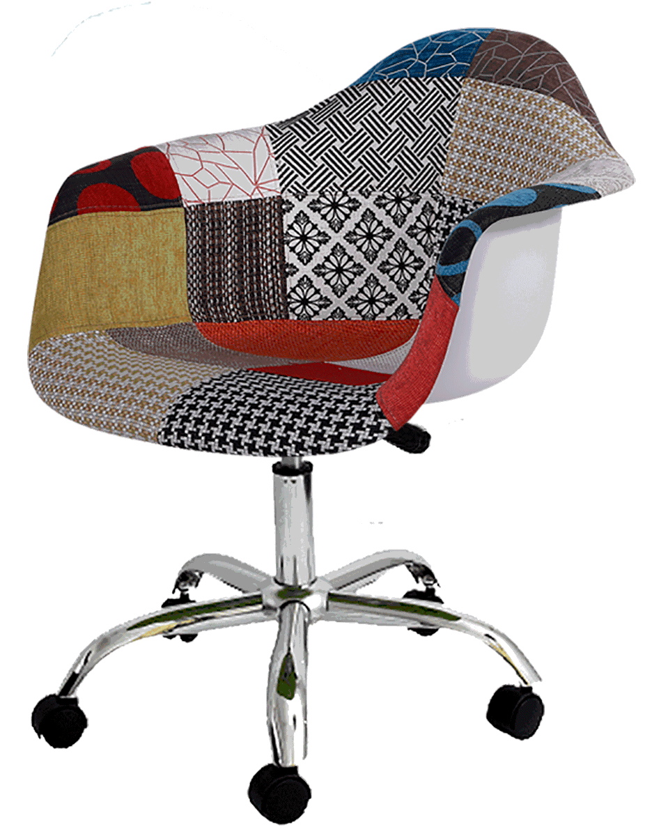 Cadeira Office Eames PACC DAR Base Giratoria Patchwork