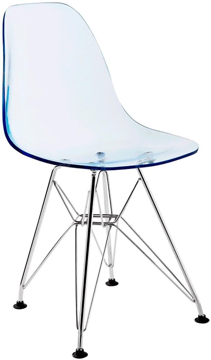 Cadeira Infantil Eames DSR Acrilico Base Eiffel Cromada