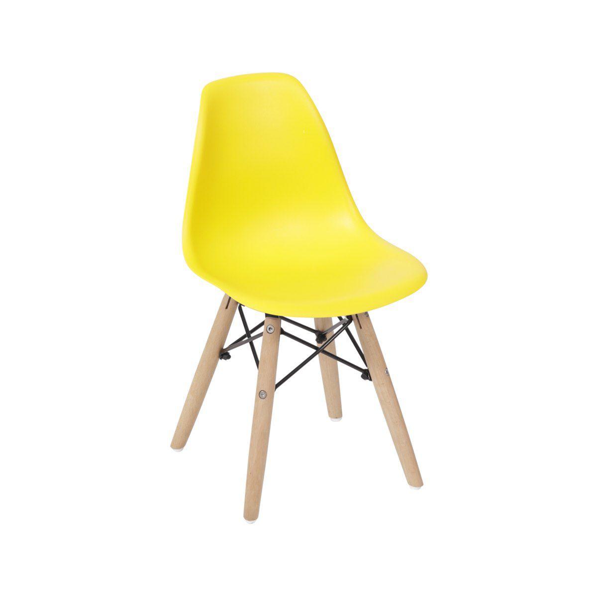 Cadeira Infantil Eames DSW Polipropileno Base Eiffel Madeira