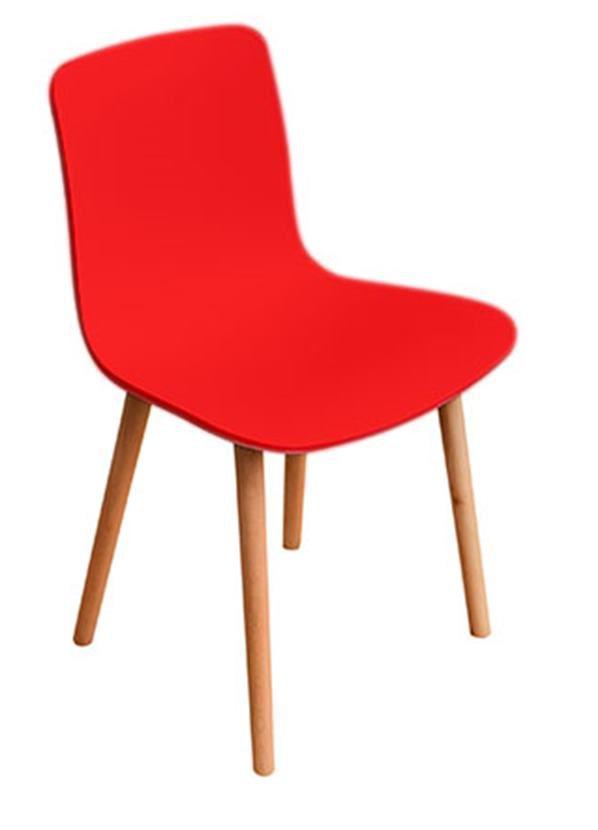 Cadeira L em Polipropileno Base Madeira Baixa