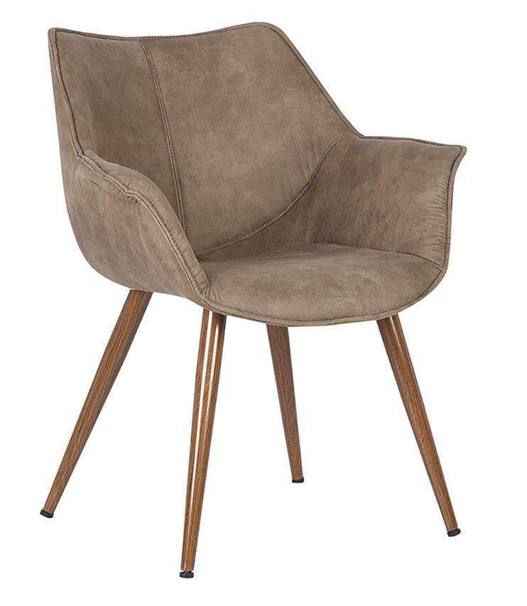 Cadeira Leoni em madeira revestida com braço