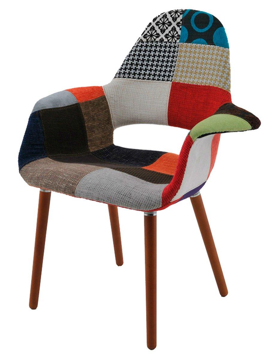 cadeira Marieta Base madeira revestida em tecido patchwork