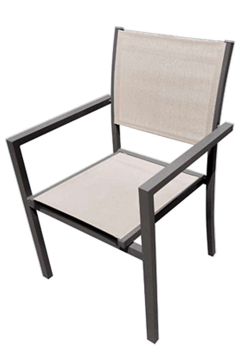 Cadeira Noronha em aluminio assento tela mesh com braço