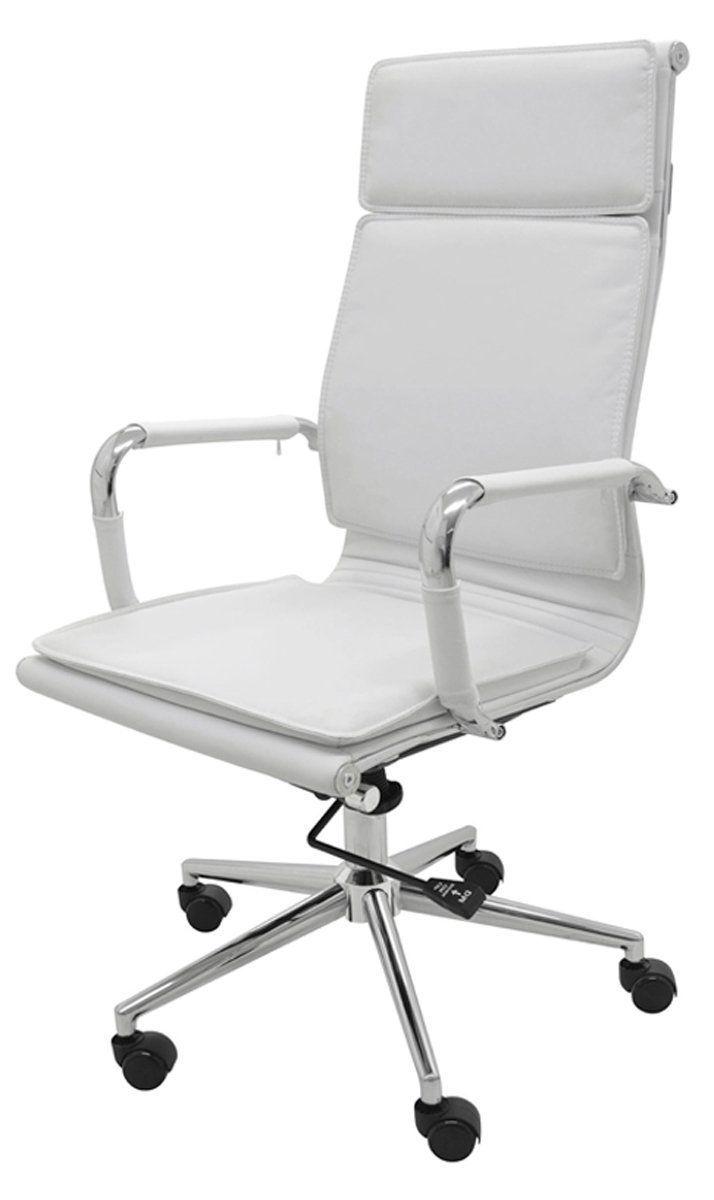 Cadeira Office Varsovia Pu alta revestida em Pu pé  giratória cromado