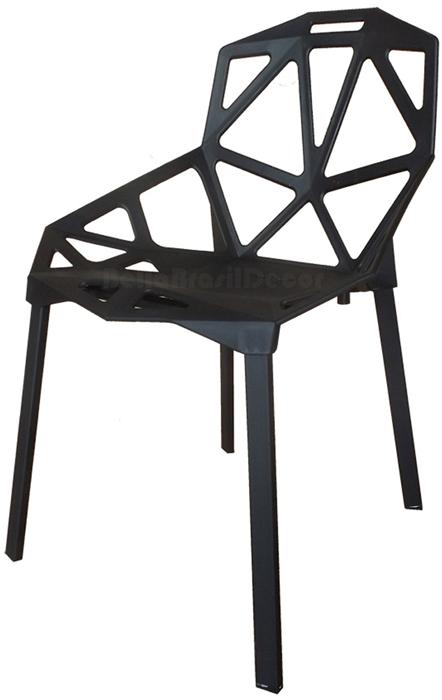 Cadeira One Penelope PP Preta Base Pintada Epoxi Preta - Linha Color