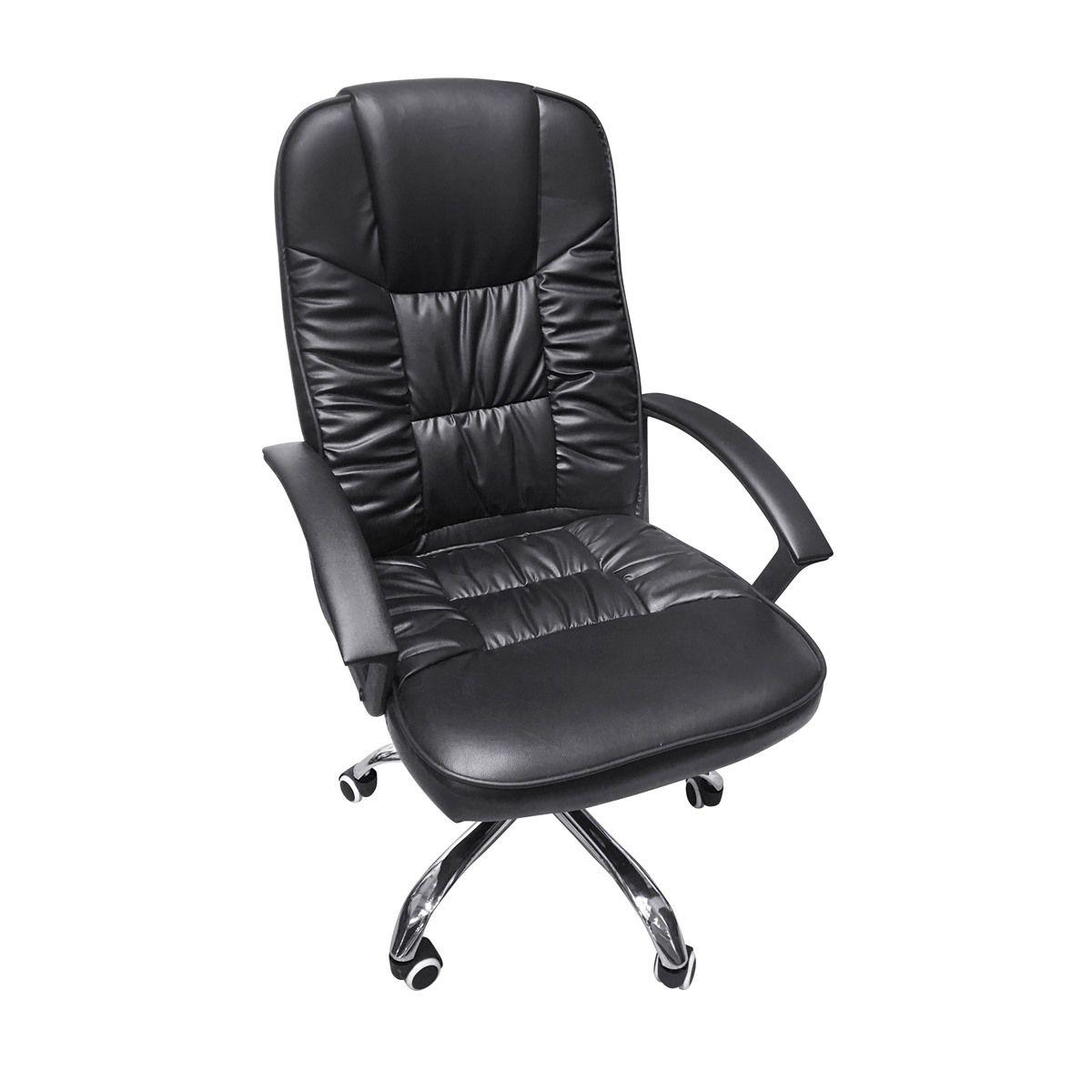 Cadeira de Escritório Presidente Alta com Sistema Relax Base Giratória Cromada