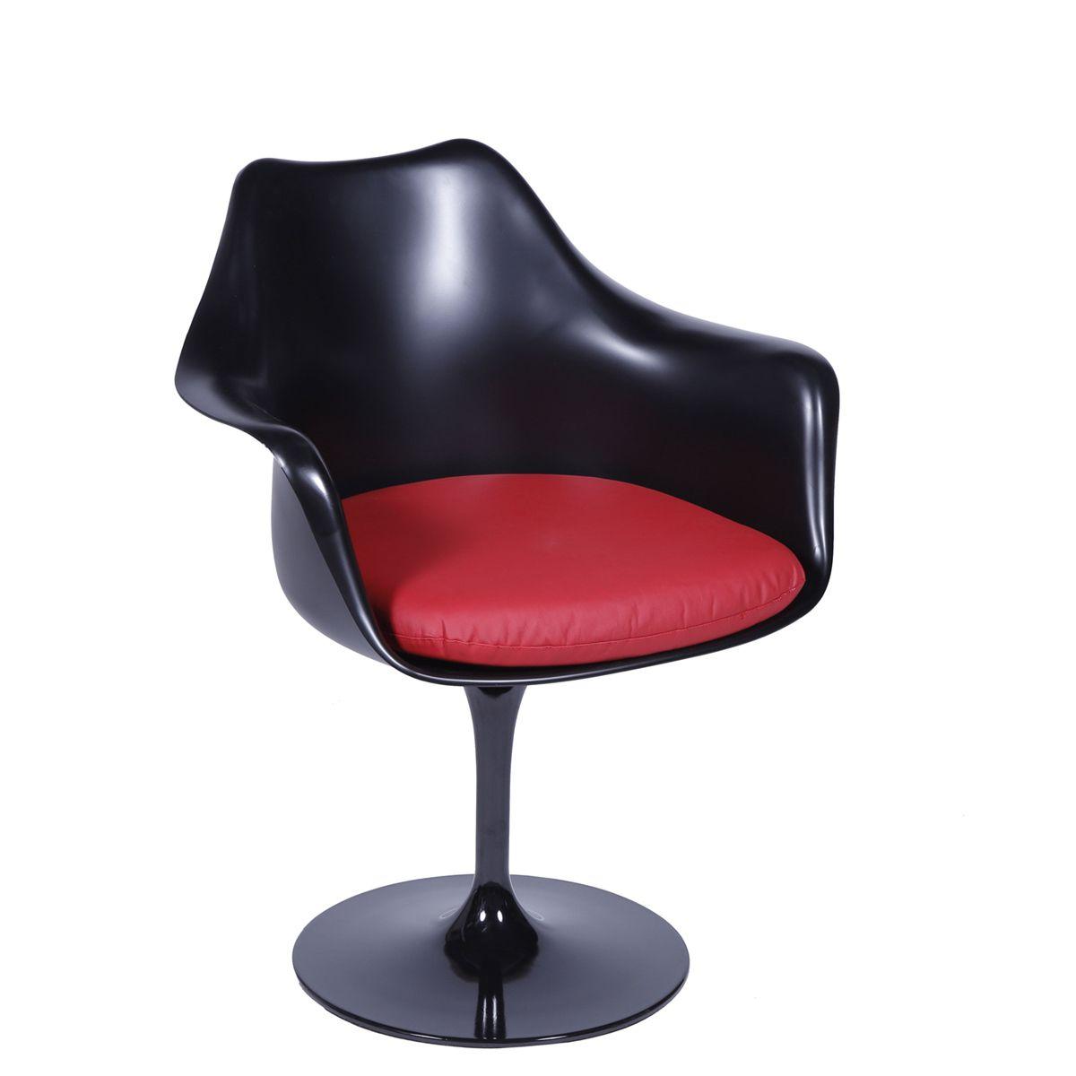 Cadeira Saarinen em ABS com Braco e Base em Aluminio