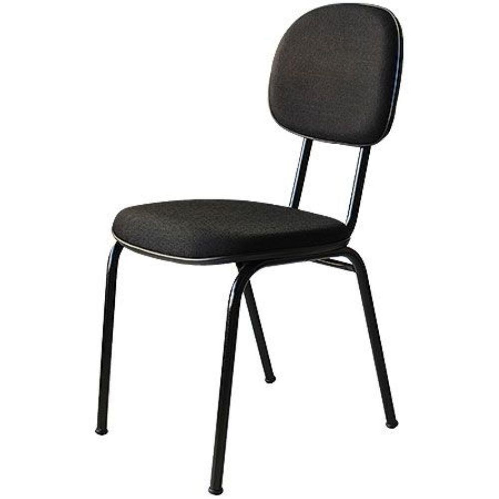 Cadeira Secretaria Fixa Preta Tecido