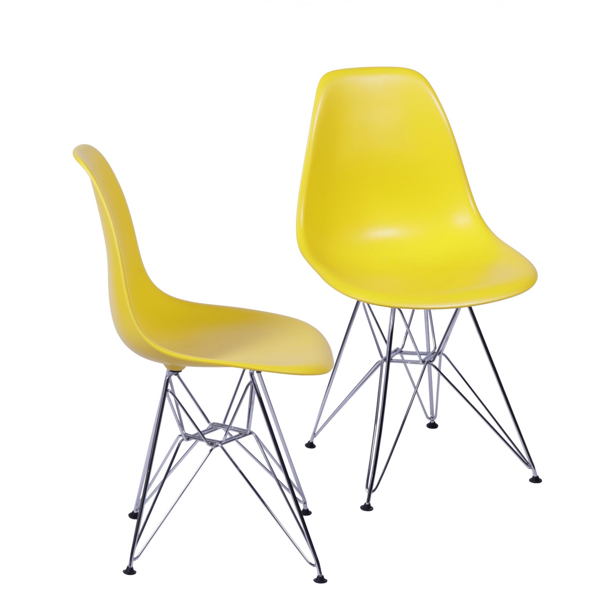 Conjunto 2 Cadeiras Eames DSR Cromada com Concha em Polipropileno - Várias Cores